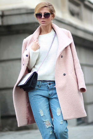 light pink Choies coat - sky blue ripped jeans Zanzea jeans