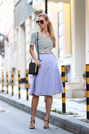 black StyleMoi bag - periwinkle skirt - white StyleMoi blouse - black sandals