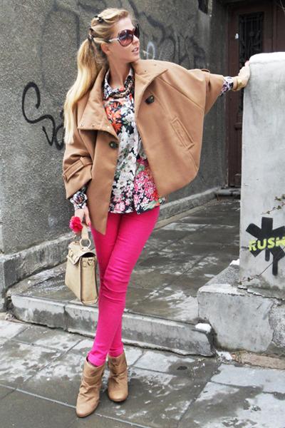 hot pink jeans - camel boots - Zara shirt - camel bag - camel cape