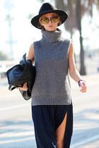 heather gray Choies sweater - black boots - black hat - black bag - navy watch