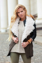 black jacket - olive green jeans - off white sweater - charcoal gray vest