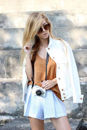 cream H&M jacket - light blue striped shorts Choies shorts - tawny H&M top