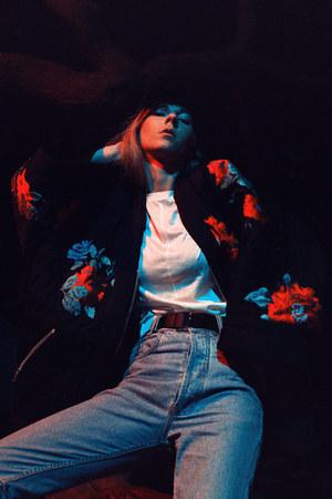 white t-shirt H&M t-shirt - sky blue madoc jeans - black KENZO x HM jacket