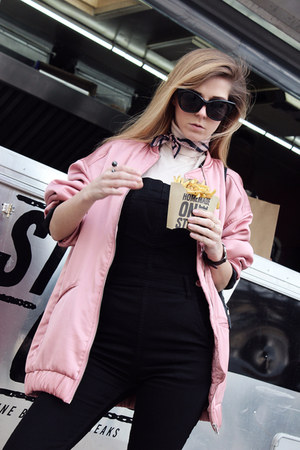 black backpack Parfois bag - pink bomber jacket Mango jacket - black H&M romper