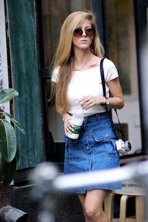 navy romwe skirt - dark brown shein sunglasses - white top