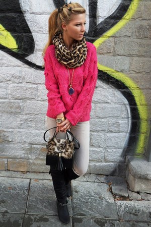 light brown scarf - black boots - off white jeans - hot pink sweater