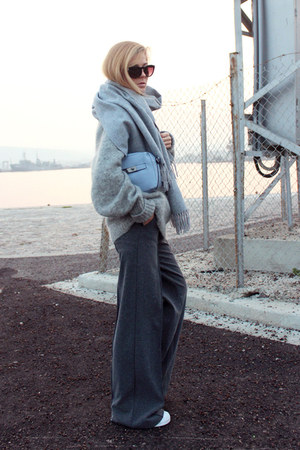 gray pants - heather gray mohair sweater sweater