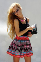 coral skirt - hot pink VANYA DIMITROVA necklace - black top