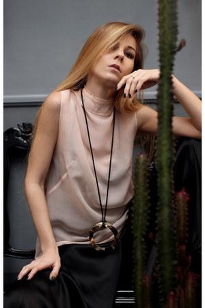 gold H&M necklace - light pink H&M Conscious Exclusive top