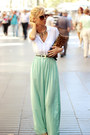 White-shirt-burnt-orange-bag-black-belt-aquamarine-skirt