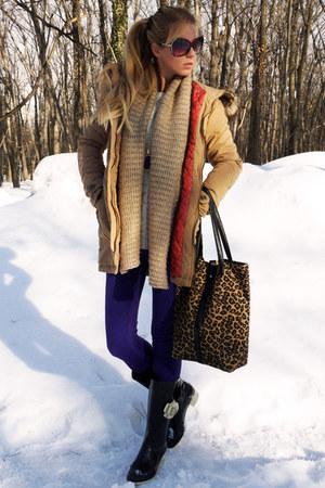 black boots - camel coat - deep purple jeans - off white sweater