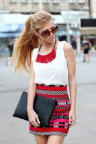 hot pink skirt - black bag - white persun blouse - red necklace - black sandals