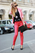 black Bershka bag - red Zara jeans - bubble gum Bershka blazer