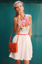 carrot orange bag - white dress - bubble gum necklace - ivory wedges