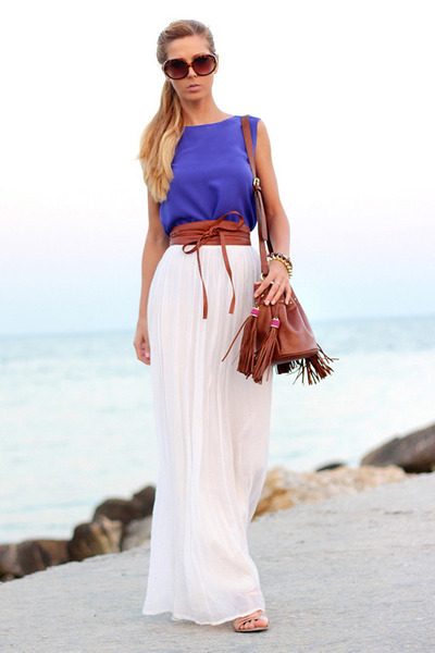 white maxi skirt Let them stare skirt - brown H&M bag - brown Mango sunglasses