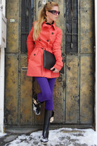 coral coat - black boots - deep purple jeans - black bag - magenta glasses