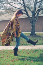 poncho Forever21 cape - faux suede wal-mart boots - high-waisted BDG jeans