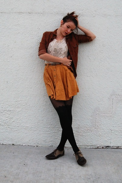 black Charlotte Russe tights - brown oxford Forever21 shoes