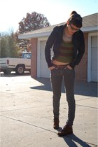 army green Wet Seal sweater - dark brown boots - black Urban Outfitters jacket