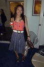 Silver-thrifted-skirt-black-shoes-orange-forever21-top-forever21-necklace-