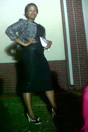 black dress - black and white shoes - blazer - black and white purse