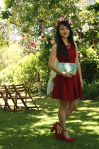 ruby red Blossom dress - aquamarine Juno bag - ruby red red suade heels heels