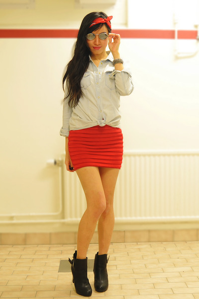 jean shirt H&M shirt - scarf Glitter scarf
