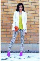 white white blazer GINA TRICOT blazer - purple ankle boots H&M boots