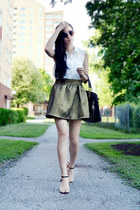 gold gold skirt unknown skirt - black black bag unknown bag