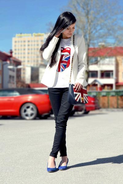 red H&M t-shirt - white white blazer GINA TRICOT blazer