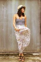 violet skirt - dark brown shoes - aquamarine slim Forever 21 belt