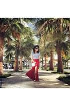 black H&M hat - brick red Forever 21 skirt - blue H&M blouse