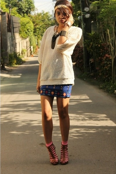 white knit Forever 21 top - blue aztec Forever 21 skirt