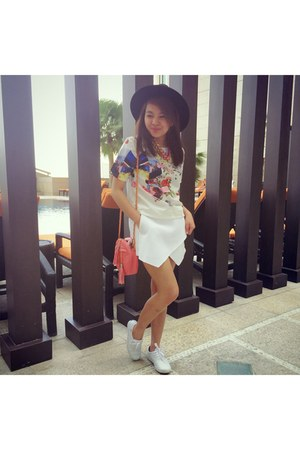 white shoes - black H&M hat - white cotton on shorts