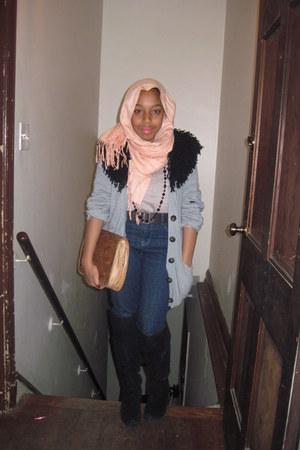 Forever 21 boots - vintage jeans - peach scarf vintage scarf - vintage bag - gre