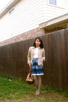 gold DKNY purse - blue banana republic skirt - brown ann taylor jacket - white b