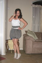 gray BCBG shoes - gray Forever 21 skirt - white banana republic belt - white Ame