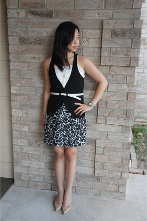 black H&M vest - white lace Forever 21 top - white banana republic belt - black