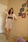 Pink-gap-cardigan-brown-old-navy-belt-beige-h-m-dress-beige-shoes-white-