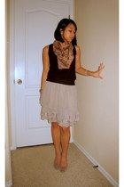 scarf - Forever 21 blouse - skirt - Banna Republic shoes - earrings - Tag Heuer