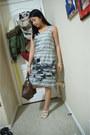 Heather-gray-banana-republic-dress-dark-brown-louis-vuitton-purse