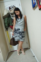 heather gray banana republic dress - dark brown Louis Vuitton purse
