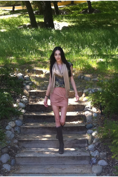 dark brown Soft boots - nude lulus skirt - olive green Anthropologie blouse