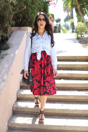 ruby red floral print Tibi dress - light blue chambray banana republic shirt