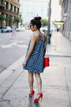 red chain crossbody Jason Wu bag - blue Forever 21 dress