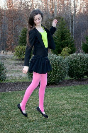 bubble gum American Apparel tights - black tuxedo style Anthropologie jacket