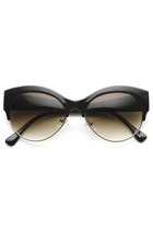 WOMENS OVAL CAT EYE HALF FRAME DESIGNER SUNGLASSES 9116