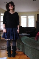sweater - Anthropologie skirt - intimate - tights - shoes