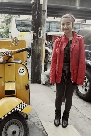 Zara jacket - giordano dress - Zara stockings - Promod boots