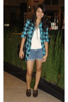 Forever 21 blazer - Forever 21 top - flea market necklace - Guess shorts - Roxy